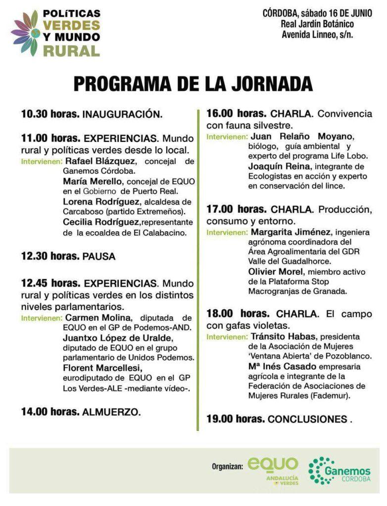 Programa Jornada Politicas Verdes y Mundo Rural